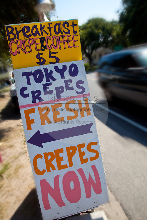 Sign for the Tokyo Crepes roadside stand in Folly Beach, South Carolina.