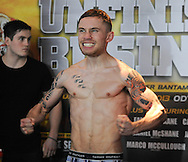 Picture by Ramsey Cardy/Focus Images Ltd +44 7809 235323.08/02/2013.Carl Frampton weighs in for his  EBU Super-Bantamweight Title fight against Kiko Martinez in Odyssey Arena, Belfast..
