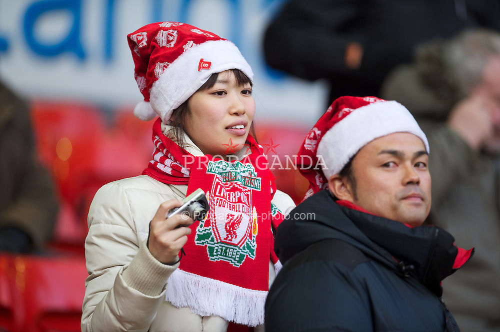 LIVERPOOL, ENGLAND - Saturday, December 10, 2011: Liverpool supporters before the Premiership match against Queens Park Rangers at Anfield. (Pic by David Rawcliffe/Propaganda)