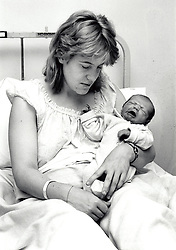 Newborn baby & mother, hospital, Queen's Medical Centre, Nottingham UK 1990