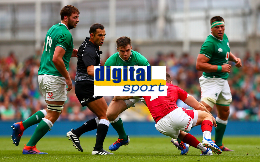 Rugby Union - 2019 pre-Rugby World Cup warm-up (Guinness Summer Series) - Ireland vs. Wales<br /> <br /> Luke McGrath (Ireland) in action against Gareth Davies (Wales) at The Aviva Stadium.<br /> <br /> COLORSPORT/KEN SUTTON