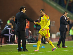 BRUSSELS, BELGIUM - Sunday, November 16, 2014: Wales' Hal Robson-Kanu and manager Chris Coleman during the UEFA Euro 2016 Qualifying Group B game against Belgium at the King Baudouin [Heysel] Stadium. (Pic by David Rawcliffe/Propaganda)