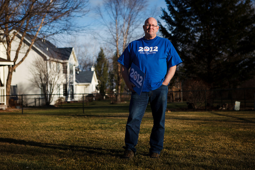 Pat Walters, a neighborhood team leader with Organizing For America and working to gain support for the Obama campaign and Iowa Democratic Caucus, poses for a portrait in the back yard of his home on Thursday, December 22, 2011 in Johnston, Iowa. Patrick T. Fallon/For The New York Times