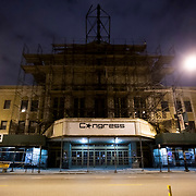 Historic Congress Theater in Chicago's Logan Square neighborhood under renovation, March 2019