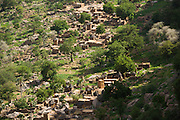 Bird eye view of Doundjourou village situated on the sandy plain. The Dogon Country is the most visited part of Mali with tourists visiting its tipical  villages that can be located on the cliff, on the sandy plain or in the rocky plateau