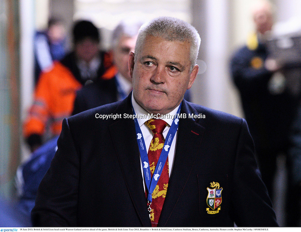 18 June 2013; British & Irish Lions head coach Warren Gatland arrives ahead of the game. British & Irish Lions Tour 2013, Brumbies v British & Irish Lions, Canberra Stadium, Bruce, Canberra, Australia. Picture credit: Stephen McCarthy / SPORTSFILE