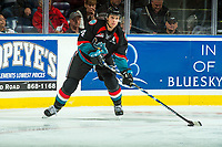 KELOWNA, CANADA - OCTOBER 4: Gordie Ballhorn #4 of the Kelowna Rockets passes the puck against the Victoria Royals on October 4, 2017 at Prospera Place in Kelowna, British Columbia, Canada.  (Photo by Marissa Baecker/Shoot the Breeze)  *** Local Caption ***