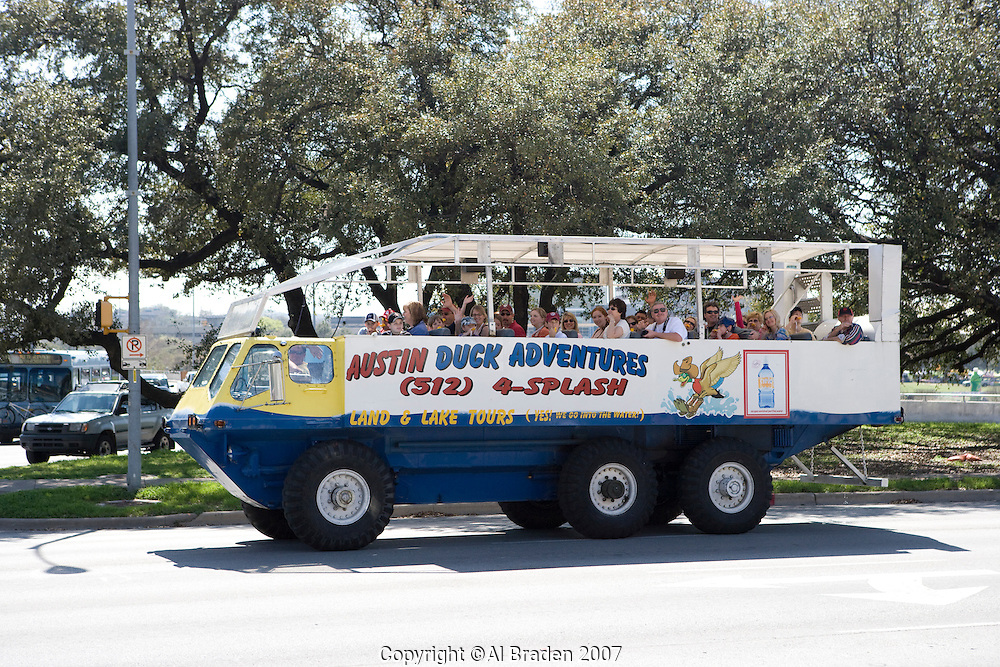 A popular way to see Austin and Lady Bird Lake is the Duck Tour Boat.