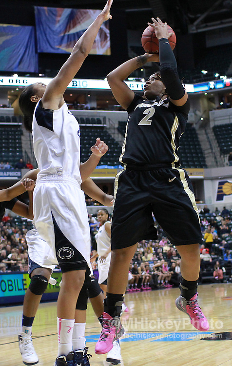 March 03, 2012; Indianapolis, IN, USA; Purdue Boilermakers guard Antionette Howard (2) shoots the ball against Penn State Lady Lions forward Mia Nickson (24) during the semifinals of the 2012 Big Ten Tournament at Bankers Life Fieldhouse. Mandatory credit: Michael Hickey-US PRESSWIRE