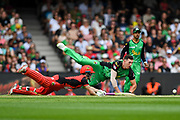 17th February 2019, Marvel Stadium, Melbourne, Australia; Australian Big Bash Cricket League Final, Melbourne Renegades versus Melbourne Stars; Sam Harper of the Melbourne Renegades dives for the crease as Daniel Worrall of the Melbourne Stars attempts to run him out
