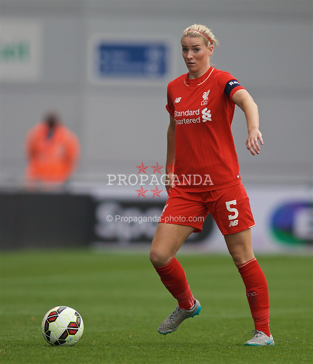 MANCHESTER, ENGLAND - Sunday, August 30, 2015: Liverpool's captain Gemma Bonner during the League Cup Group 2 match against Manchester City at the Academy Stadium. (Pic by Paul Currie/Propaganda)