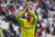 Nottingham Forest goalkeeper Dorus de Vries applauds the fans during the Sky Bet Championship match between Milton Keynes Dons and Nottingham Forest at stadium:mk, Milton Keynes, England on 7 May 2016. Photo by Dennis Goodwin.