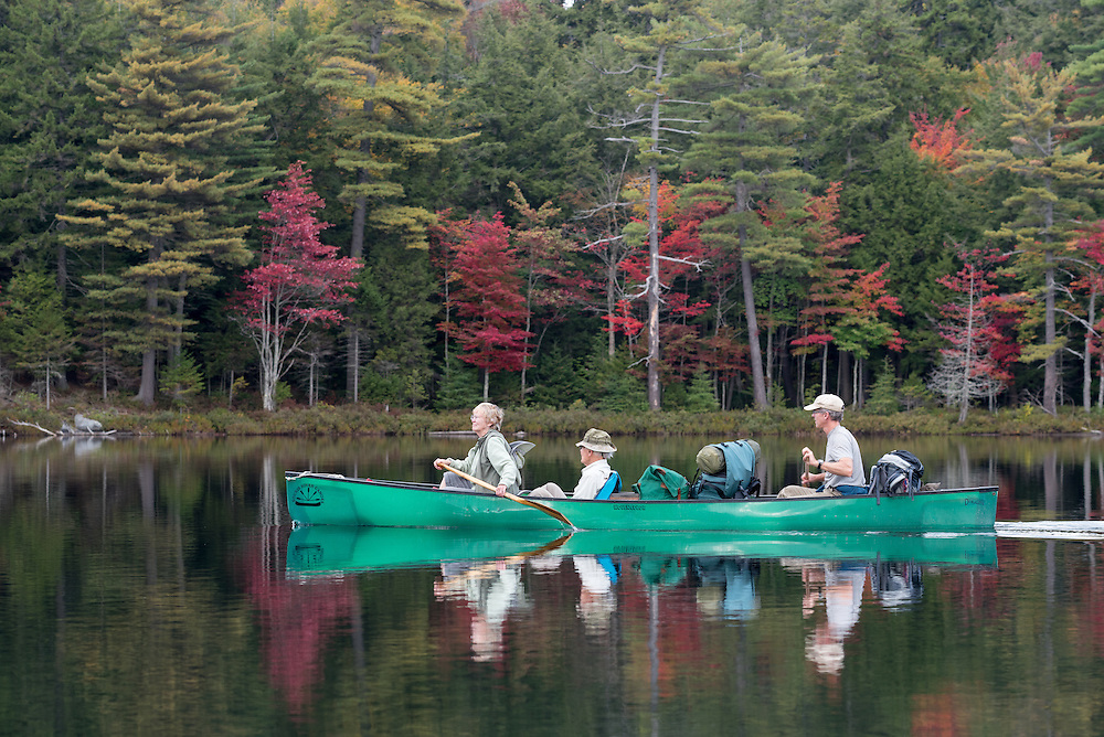 Canoeing in the St. Regis Canoe Area of Adirondack State Park, New York.