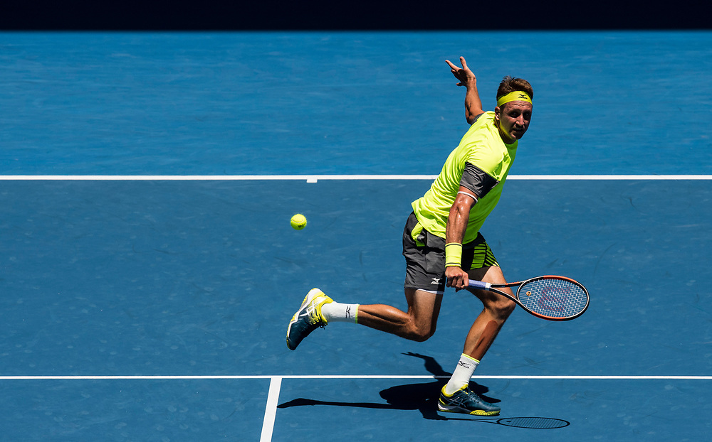 Tennys Sandgren of the United States on day ten of the 2018 Australian Open in Melbourne Australia on Wednesday January 24, 2018.<br /> (Ben Solomon/Tennis Australia)