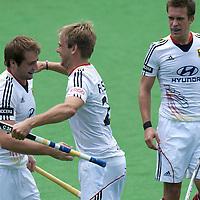 MELBOURNE - Champions Trophy men 2012<br /> Germany v New Zealand <br /> foto: Tobias Mantania scores, Moritz Furste and Olvier Korn celebrating.<br /> FFU PRESS AGENCY COPYRIGHT FRANK UIJLENBROEK