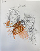 Pencil sketch of Thorgal as the pirate lord Shaigan with Kriss of Valnor, from Series 21 La Couronne d'Ogotai, or The Crown of Ogotai, from a sketchbook used for developing characters, used since 2000, by Grzegorz Rosinski, 1941-, Polish comic book artist. Rosinski was born in Stalowa Wola, Poland, and now lives in Switzerland, and is the author and designer of many Polish comic book series. He created Thorgal with Belgian writer Jean Van Hamme. The series was first published in Tintin in 1977 and has been published by Le Lombard since 1980. The stories cover Norse mythology, Atlantean fantasy, science fiction, horror and adventure genres. Picture by Manuel Cohen / Further clearances requested, please contact us and/or visit www.lelombard.com
