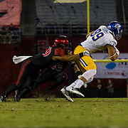 21 October 2016: The San Diego State Aztecs football team takes on the San Jose State Spartans Friday night at Qualcomm Stadium. San Diego State linebacker Ronley Lakalaka (39) makes an open field tackle on San Jose State tightend Josh Oliver (89) in the first quarter. The Aztecs lead the Spartans 21-3 at halftime. www.sdsuaztecphotos.com