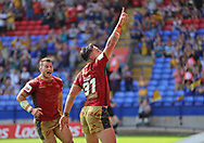 Tony Gigot of Catalans Dragons celebrates scoring the third try against St Helens during the Ladbrokes Challenge Cup Semi Final match at the Macron Stadium Stadium, Bolton.<br /> <br /> Picture by Michael Sedgwick/Focus Images Ltd +44 7900 363072<br /> <br /> 05/08/2018