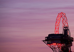 © Licensed to London News Pictures. 19/06/2014. London, UK. A sunset view of the ArcelorMittal Orbit from Stratford, east London, the last day before the Summer solstice. Photo credit : Isabel Infantes / LNP