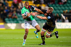 Aaron Morris of Harlequins is tackled by David Ribbans of Northampton Saints - Mandatory by-line: Robbie Stephenson/JMP - 07/09/2018 - RUGBY - Franklin's Gardens - Northampton, England - Northampton Saints v Harlequins - Gallagher Premiership