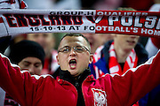 Poland's supporters during the 2014 World Cup Qualifying Group H football match between England and Poland at Wembley Stadium in London on October 15, 2013.<br /> <br /> Great Britain, London, October 15, 2013<br /> <br /> Picture also available in RAW (NEF) or TIFF format on special request.<br /> <br /> For editorial use only. Any commercial or promotional use requires permission.<br /> <br /> Mandatory credit:<br /> Photo by &copy; Adam Nurkiewicz / Mediasport