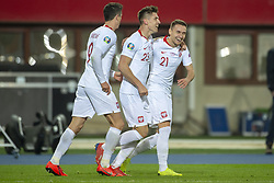 March 21, 2019 - Vienna, Austria - Krzysztof Piatek of Poland celebrate scoring with Przemyslaw Frankowski and Robert Lewandowski during the UEFA European Qualifiers 2020 match between Austria and Poland at Ernst Happel Stadium in Vienna, Austria on March 21, 2019  (Credit Image: © Andrew Surma/NurPhoto via ZUMA Press)