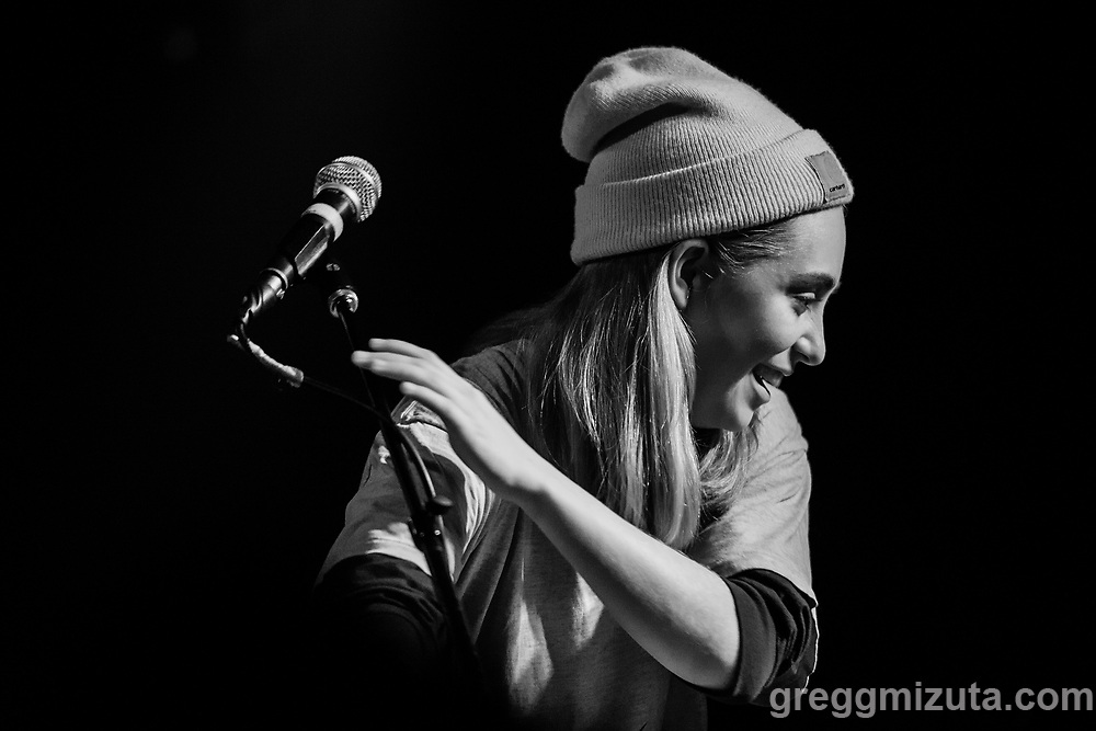 Thick Business' Sarah Pincock performs at the Neurolux in Boise, Idaho on December 29, 2017.<br /> <br /> Performances by Dirt Russell, Foul Weather, and Thick Business.<br /> <br /> Thick Business members: Sarah Pincock (vocals, keys), Michael Mitchell (drums), Daniel Kerr (vocals, bass), and Frankie Tillo (vocals, guitar).