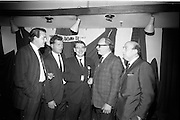 20/09/1967<br /> 09/20/1967<br /> 20 September 1967<br /> Gaeltarra Eireann Autumn 1967 Fashion Show at 34 Westland Row, Dublin. Picture shows (l-r): Colm McKinney of Spivack Ltd.; Robert Pepper of Young Dubliner; Michael O'Flanagan, Marketing Manager, Tweeds, Gaeltarra Eireann; Harry Clyne of David Henry Ltd. and Monty Feldman of David Henry Ltd. chatting at the show.