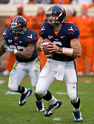 Virginia quarterback Marc Verica (6) in action against CU.  The Clemson Tigers defeated Virginia Cavaliers 13-3 in NCAA Division 1 football at Scott Stadium on the Grounds of the University of Virginia in Charlottesville, VA on November 22, 2008.