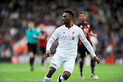 Liverpool forward Daniel Sturridge during the Barclays Premier League match between Bournemouth and Liverpool at the Goldsands Stadium, Bournemouth, England on 17 April 2016. Photo by Graham Hunt.