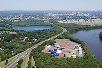 Aerial of Wethersfield Cove, Oil storage facility and Hartford skyline along the Connecticut River.