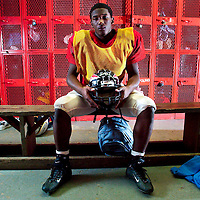 (PPAGE1) Keyport 10/16/2003  Keyport running back Ken Cattouse inside of the team's locker room before practice.  Ken is on pace to break the alltime state rushing record.  Michael J. Treola Staff Photographer.....MJT