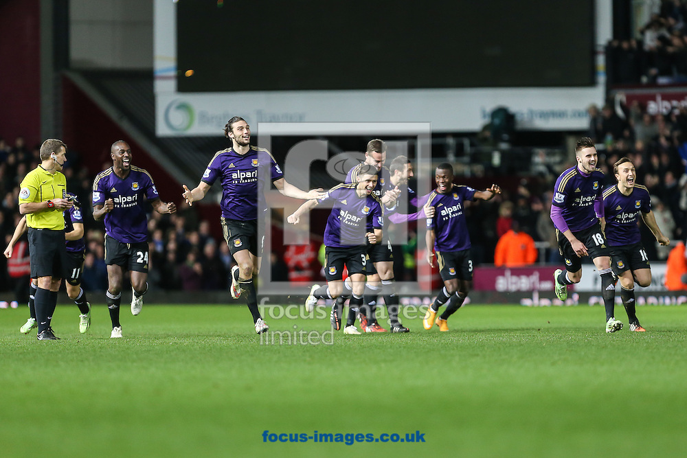 West Ham players celebrate beating Everton in a penalty shoot out during the FA Cup match at the Boleyn Ground, London<br /> Picture by David Horn/Focus Images Ltd +44 7545 970036<br /> 13/01/2015