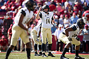 FAYETTEVILLE, AR - OCTOBER 27:  Kyle Shurmur #14 of the Vanderbilt Commodores signals at the line of scrimmage during a game against the Arkansas Razorbacks at Razorback Stadium on October 27, 2018 in Fayetteville, Arkansas. The Commodores defeated the Razorbacks 45-31.  (Photo by Wesley Hitt/Getty Images) *** Local Caption *** Kyle Shurmur