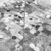 Aerial view of fields and snow, USA