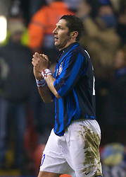 LIVERPOOL, ENGLAND - Tuesday, February 19, 2008: FC Internazionale Milano's Marco Materazzi prays as he is sent off for a second yellow card against Liverpool during the UEFA Champions League First Knockout Round 1st Leg match at Anfield. (Photo by David Rawcliffe/Propaganda)