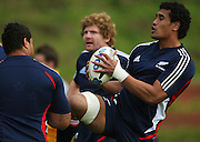 Sione Lauaki, Adam Thomson and Jerome Kaino.<br /> All Blacks Training Session at Rugby League Park, Newtown, Wellington. Tuesday 3 June 2008. Photo: Dave Lintott/PHOTOSPORT