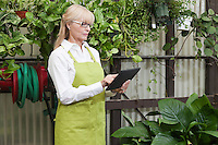 Senior gardener using digital tablet in garden center