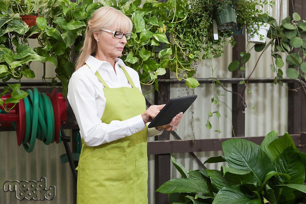 Senior gardener using digital tablet in garden center