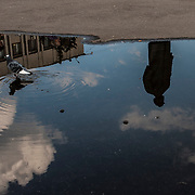 A statue of Vladimir Lenin can be seen reflecting in a puddle in Slavyansk main square, a small city taken under control by pro-Russia activists and militiamen.