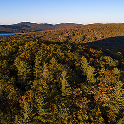 Drone view of Mount Eleanor (foreground) and Birch Ridge in New Durham, New Hampshire.
