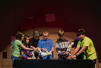 "Gilmanton Elementary students along with Artists in Residence Andrew and Bonnie Periale perform ""Scenes from Ancient Pompeii"" Wednesday, March 27, 2013.  Karen Bobotas/for the Laconia Daily Sun"