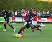 Dundee&rsquo;s Kharl Madianga drives at the Brechin defence - Brechin City v Dundee pre-season friendly at Glebe Park, Brechin, <br /> <br /> <br />  - &copy; David Young - www.davidyoungphoto.co.uk - email: davidyoungphoto@gmail.com