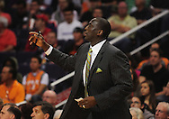 Feb. 15, 2011; Phoenix, AZ, USA; Utah Jazz head coach Tyrone Corbin reacts against the Phoenix Suns at the US Airways Center.  The Suns defeated the Jazz 102-101. Mandatory Credit: Jennifer Stewart-US PRESSWIRE