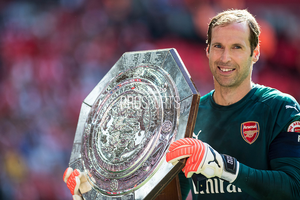 Arsenal goalkeeper Petr Cech (33) celebrate win during the FA Community Shield match between Arsenal and Chelsea at Wembley Stadium, London, England on 6 August 2017. Photo by Sebastian Frej.