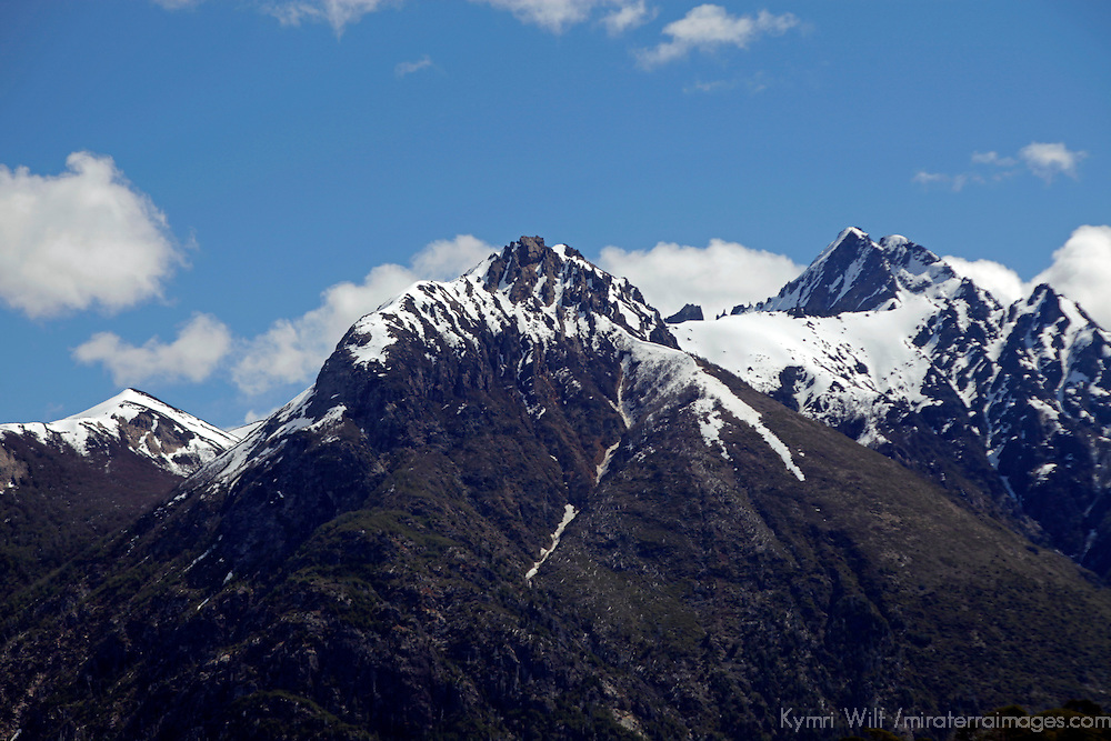 South America, Argentina, Bariloche. Cerro Lopez & Tronador Peaks viewed from Llao Llao Resort.