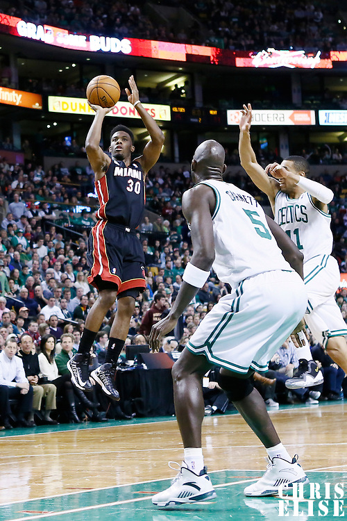 27 January 2013: Miami Heat point guard Norris Cole (30) takes a jumpshot during the Boston Celtics 100-98  2OT victory over the Miami Heat at the TD Garden, Boston, Massachusetts, USA.
