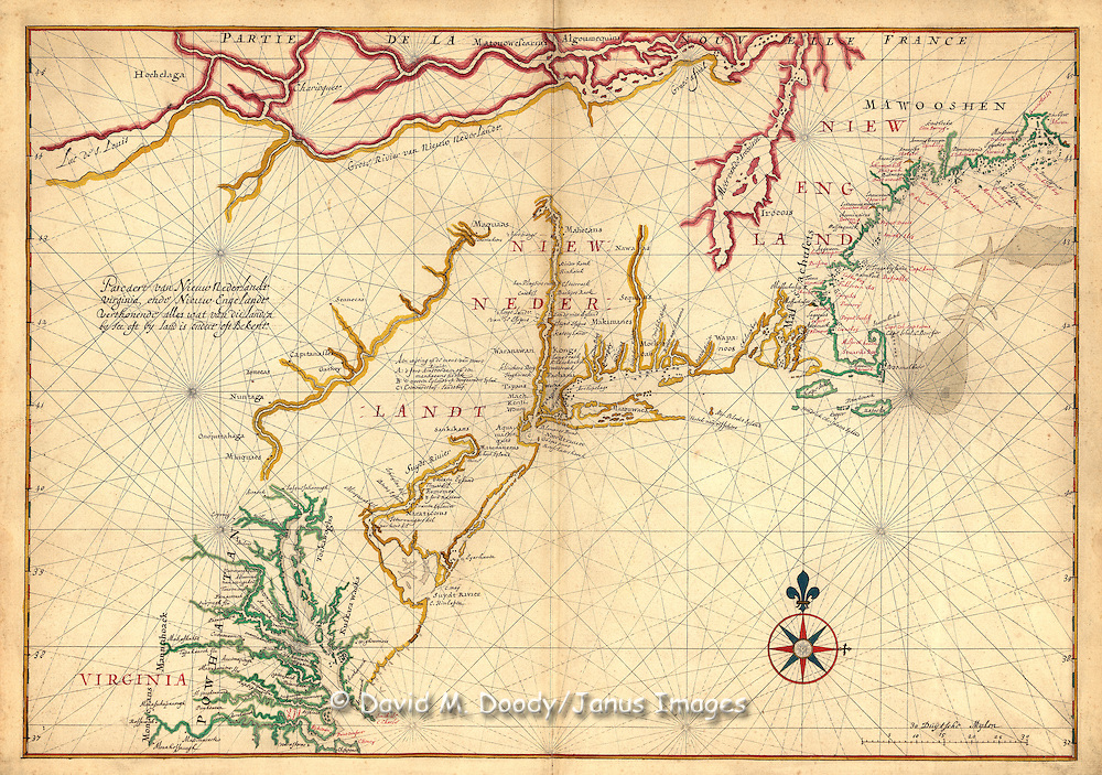 Dutch Map from Virginia to New England circa 1630. Atlantic Coast of North America with  Chesapeake Bay is in lower left. Map notes the land of the Powhatan Indians around the Chesapeake Bay.