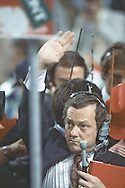 Bob Schieffer signals to his booth for an on the floor report at the Republican Convention in Dallas, Texas  on August 20-23rd in 1984.  Photograph by Dennis Brack  BSB 17