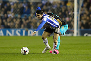 Sheffield Wednesday midfielder Kieran Lee uses his strength during the Capital One Cup Fourth Round match between Sheffield Wednesday and Arsenal at Hillsborough, Sheffield, England on 27 October 2015. Photo by Aaron Lupton.